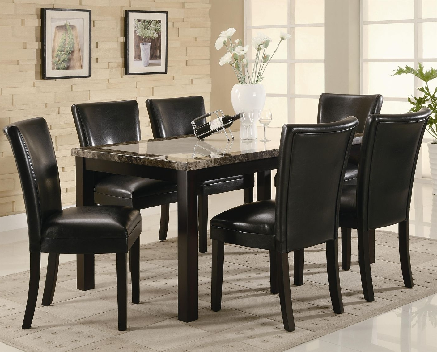 Trendy Marble Dining Tables Sets Regarding Carter Dark Brown Wood And Marble Dining Table Set – Steal A Sofa (View 23 of 25)