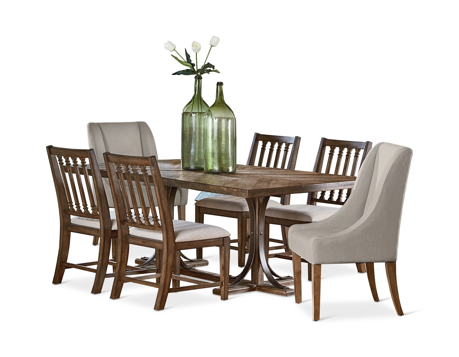 Trendy Market 7 Piece Dining Sets With Host And Side Chairs In Magnolia Home – Home Furniture – Hom Furniture (View 16 of 25)