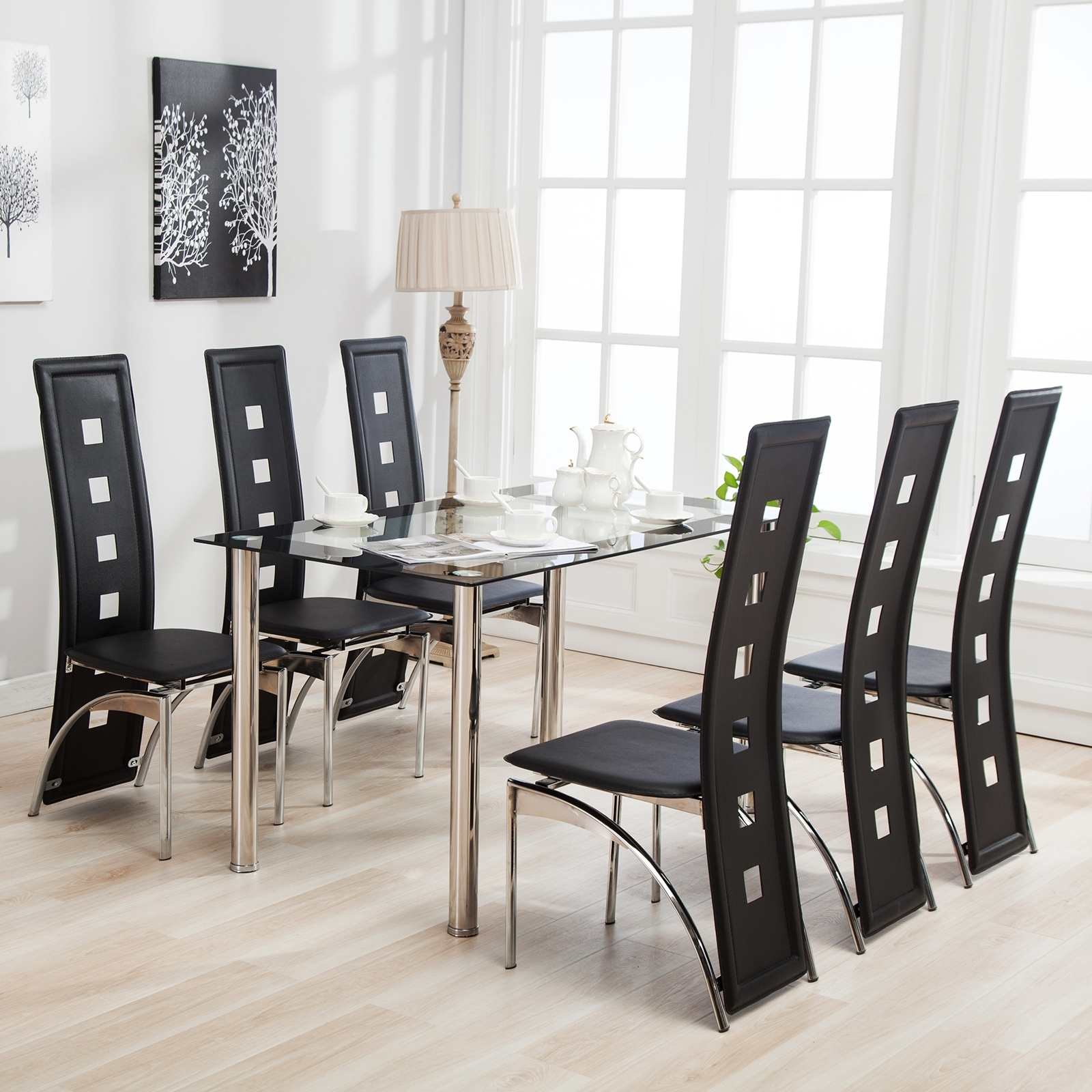 Trendy Mecor 7Pcs Dining Table Set 6 Chairs Glass Metal Kitchen Room Inside Black Glass Dining Tables 6 Chairs (View 12 of 25)