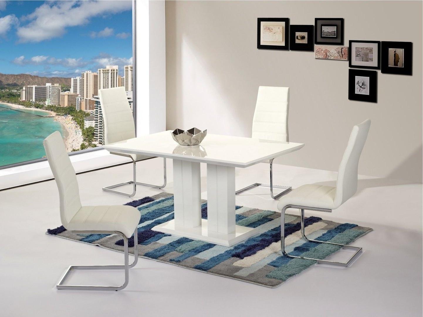 Trendy Modern Full White High Gloss Dining Table And 4 White Chairs Throughout White Gloss Dining Tables 140Cm (View 14 of 25)