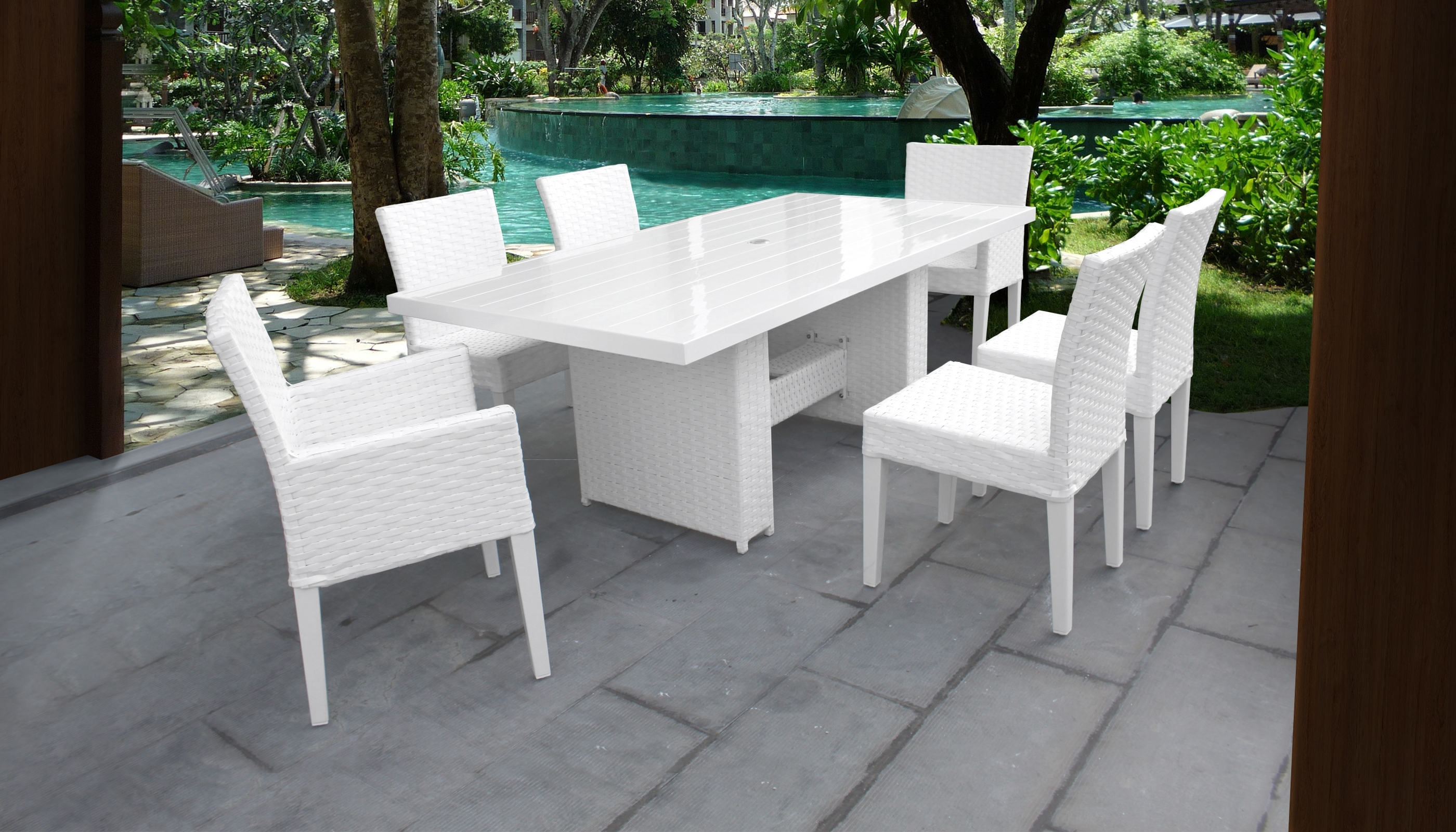 Trendy Monaco Dining Tables Throughout Monaco Rectangular Outdoor Patio Dining Table With With 4 Armless (View 22 of 25)