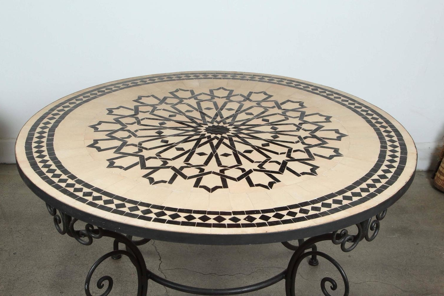 Trendy Moroccan Outdoor Round Mosaic Tile Dining Table On Iron Base 47 In For Mosaic Dining Tables For Sale (View 23 of 25)