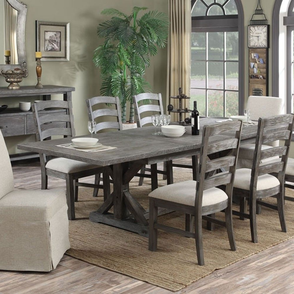 Trendy Paladin Wood Rectangular Dining Table In Charcoalemerald Home With Helms 7 Piece Rectangle Dining Sets (View 17 of 25)
