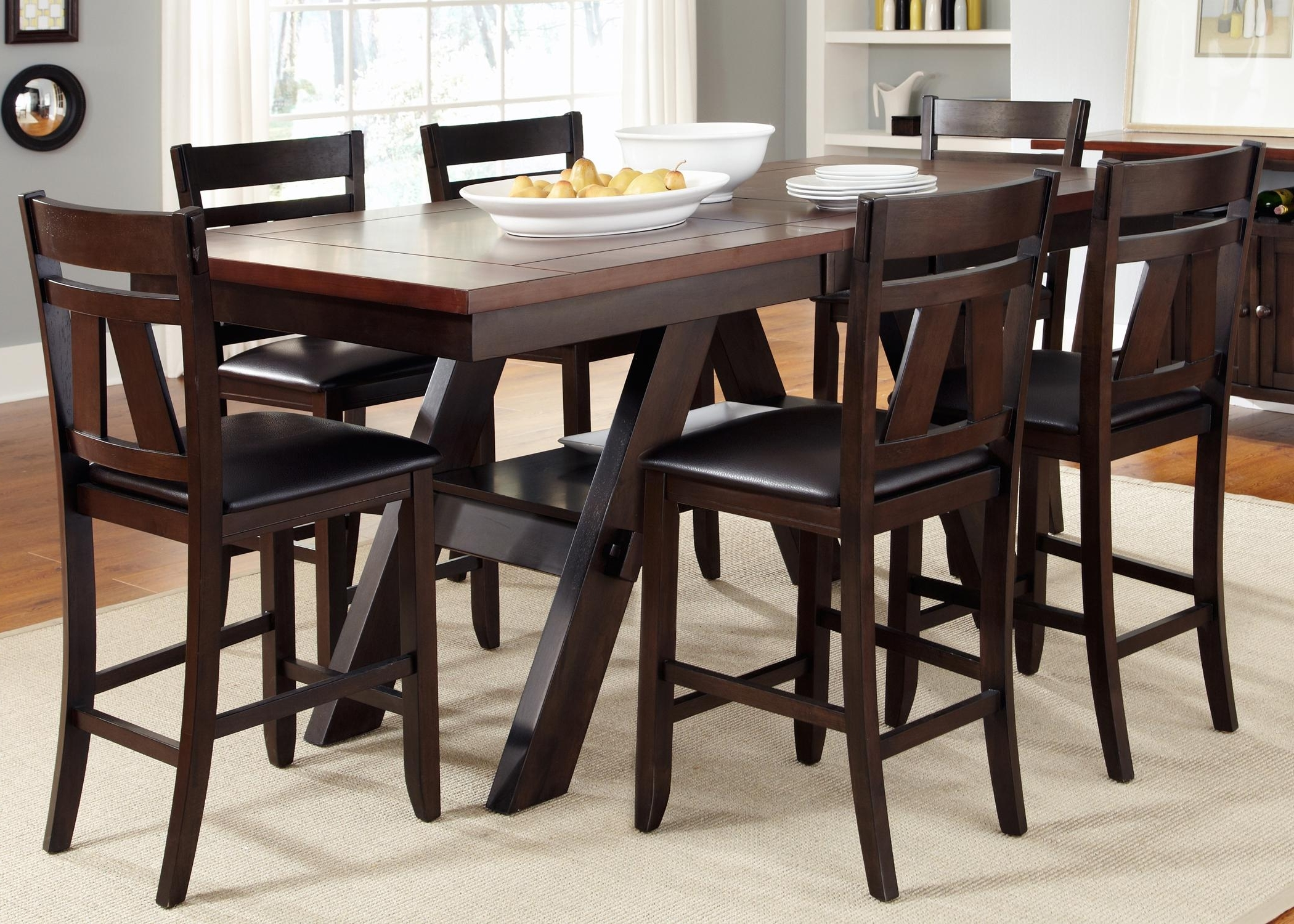 Trendy Parquet 7 Piece Dining Sets In 7 Piece Trestle Gathering Table With Counter Height Chairs Set (View 17 of 25)