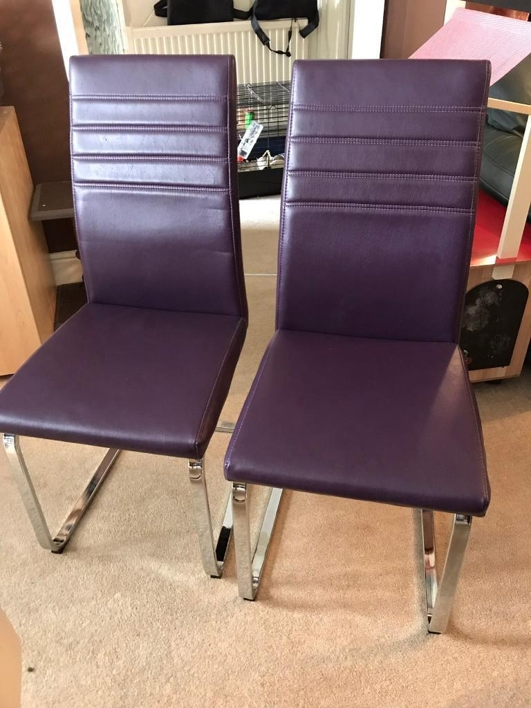 Trendy Purple Faux Leather Dining Chairs Throughout Six Faux Leather Dining Chairs, Two Purple, Two Black And Two Cream (View 22 of 25)