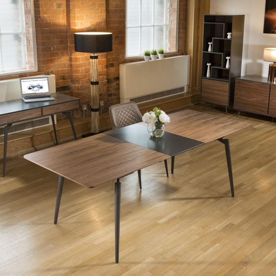 Trendy Quatropi Tembie Extending Dining Table Rich Walnut / Grey 10 Seater Throughout Walnut Dining Tables (View 18 of 25)