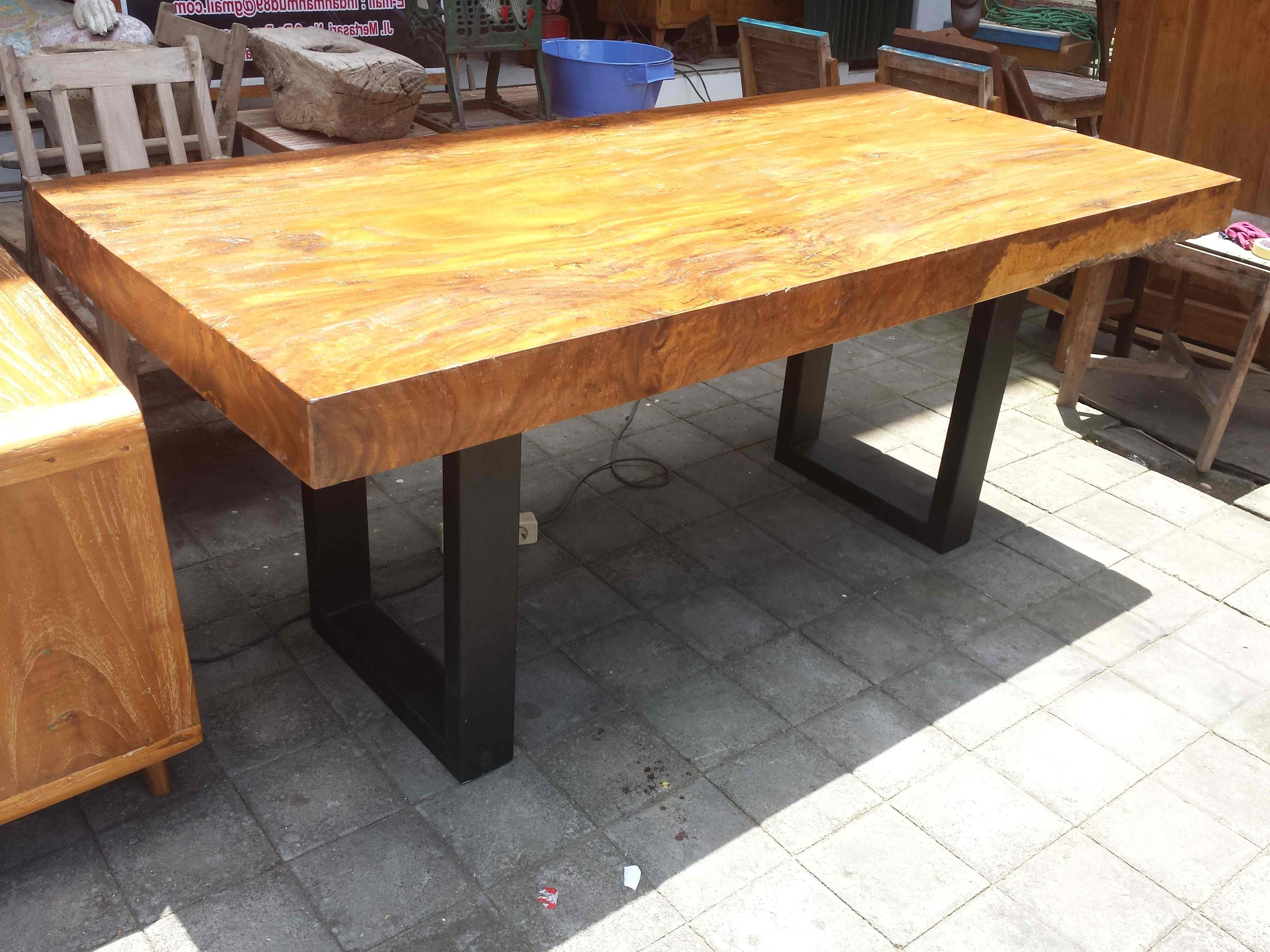 Trendy Rain Tree Hardwood Dining Table On Metal Stands – Columbus And Cook With Tree Dining Tables (View 23 of 25)
