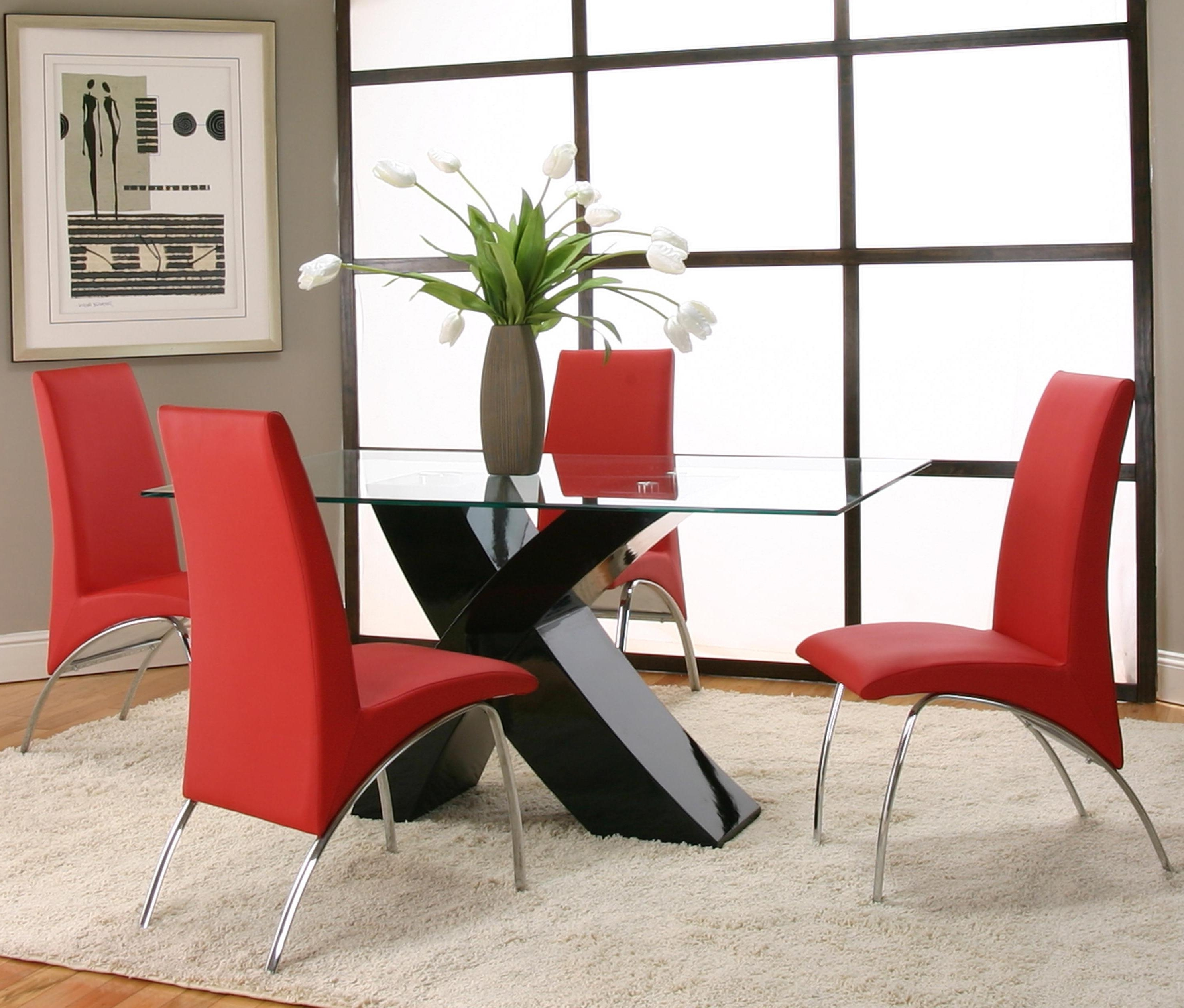 Trendy Red Dining Table Sets Within 5 Piece Rectangular Glass Top Table With Black Base And Red Chairs (View 25 of 25)