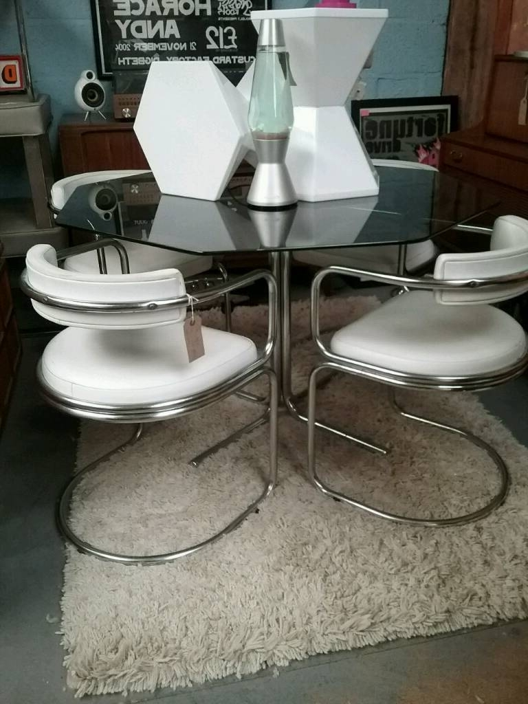 Trendy Reduced! Vintage Retro Heals Hexagonal Glass Topped Dining Table Regarding Retro Glass Dining Tables And Chairs (View 18 of 25)