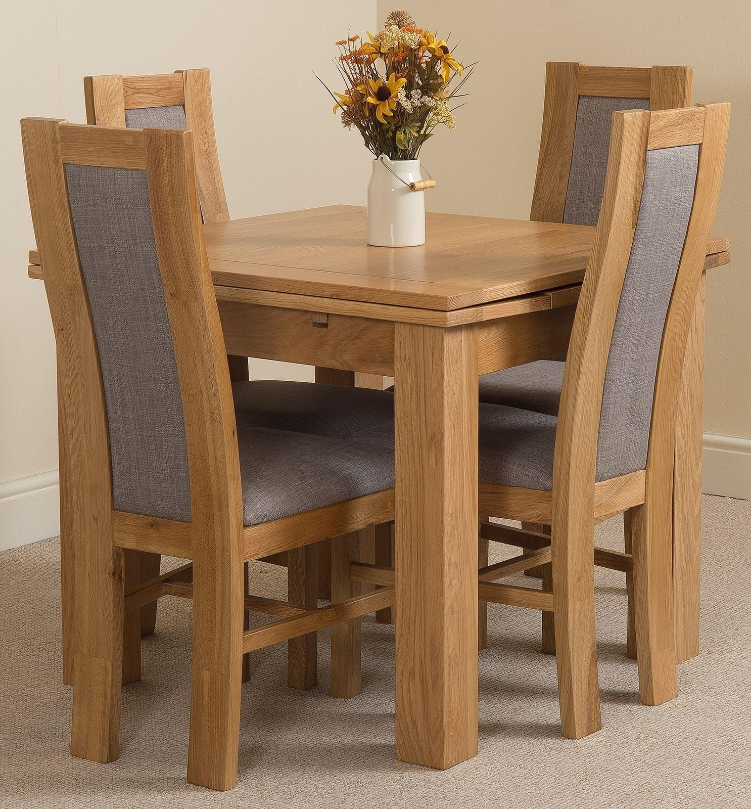 Trendy Richmond Oak Dining Set (90 150Cm) 4 Stanford Chairs Regarding Light Oak Dining Tables And Chairs (View 4 of 25)
