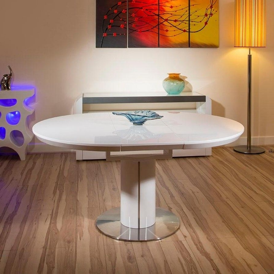 Trendy Round Dining Tables Extends To Oval Pertaining To Modern Dining Table White Gloss Round / Oval Extending 1200 1600Mm (View 24 of 25)