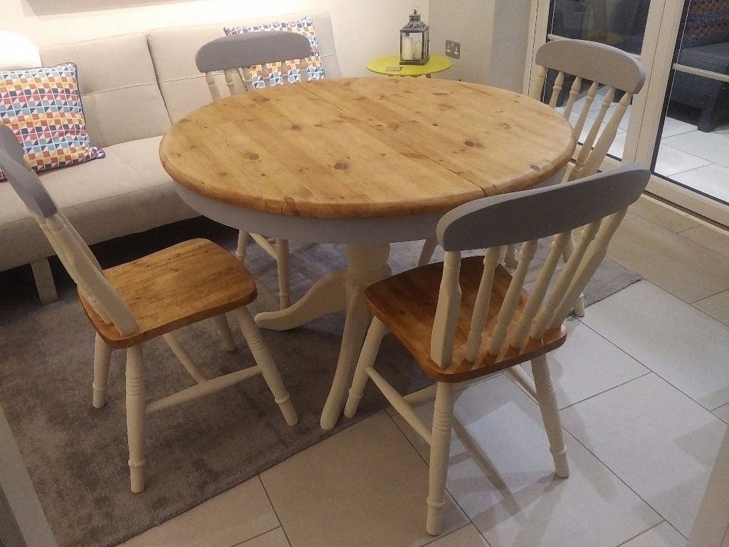 Trendy Round Solid Pine Grey And Cream Shabby Chic Farmhouse Dining Table With Regard To Shabby Chic Cream Dining Tables And Chairs (View 4 of 25)