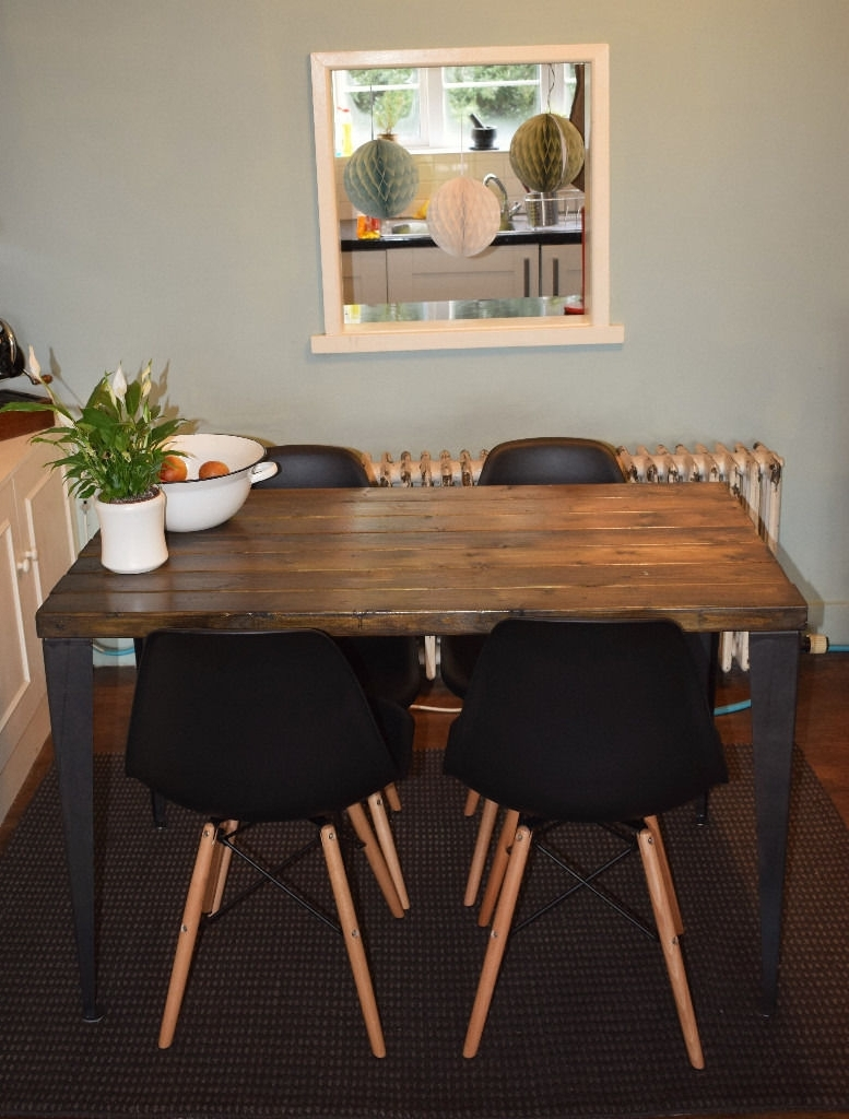 Trendy Rustic Handmade Industrial Kitchen Table Iron Legs 4 X Black Chairs Pertaining To Alcora Dining Chairs (View 24 of 25)