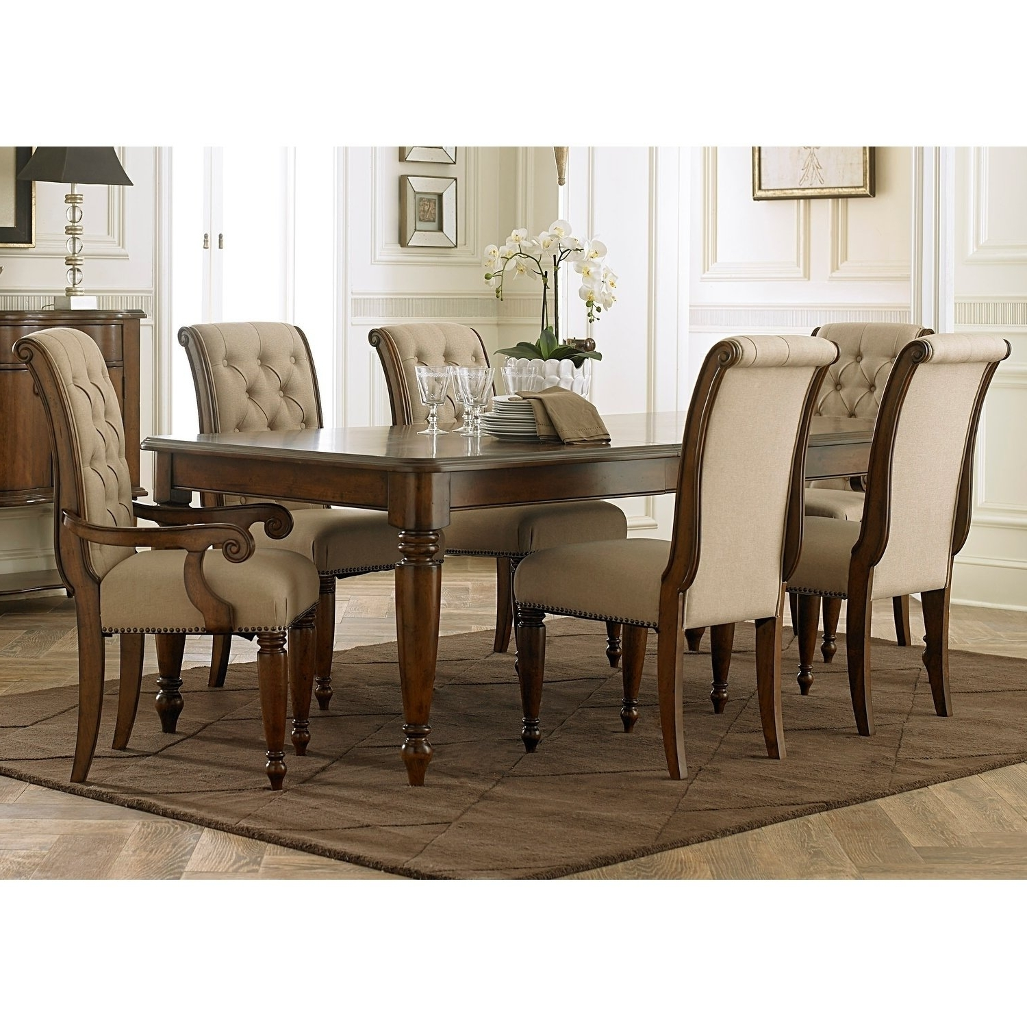 Trendy Shop Cotswold Cinnamon 7 Piece Rectangular Dining Table Set – On Pertaining To Dining Tables Sets (View 6 of 25)