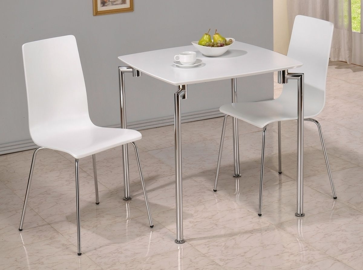 Trendy Small White Dining Tables Within Small White High Gloss Dining Table And 2 Chairs – Homegenies (View 3 of 25)