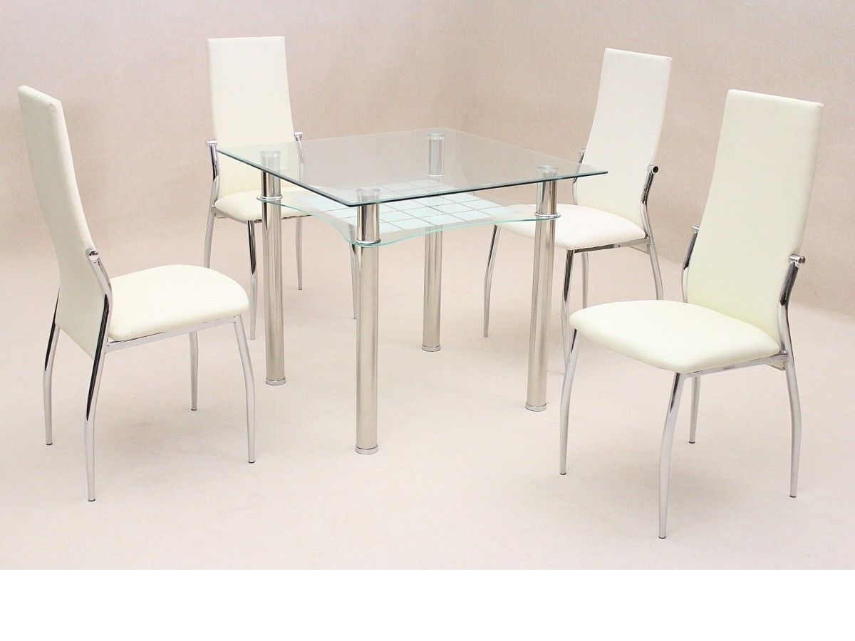 Trendy Square Clear Glass Dining Room Table And 4 Chairs Set With Regard To Clear Glass Dining Tables And Chairs (View 23 of 25)