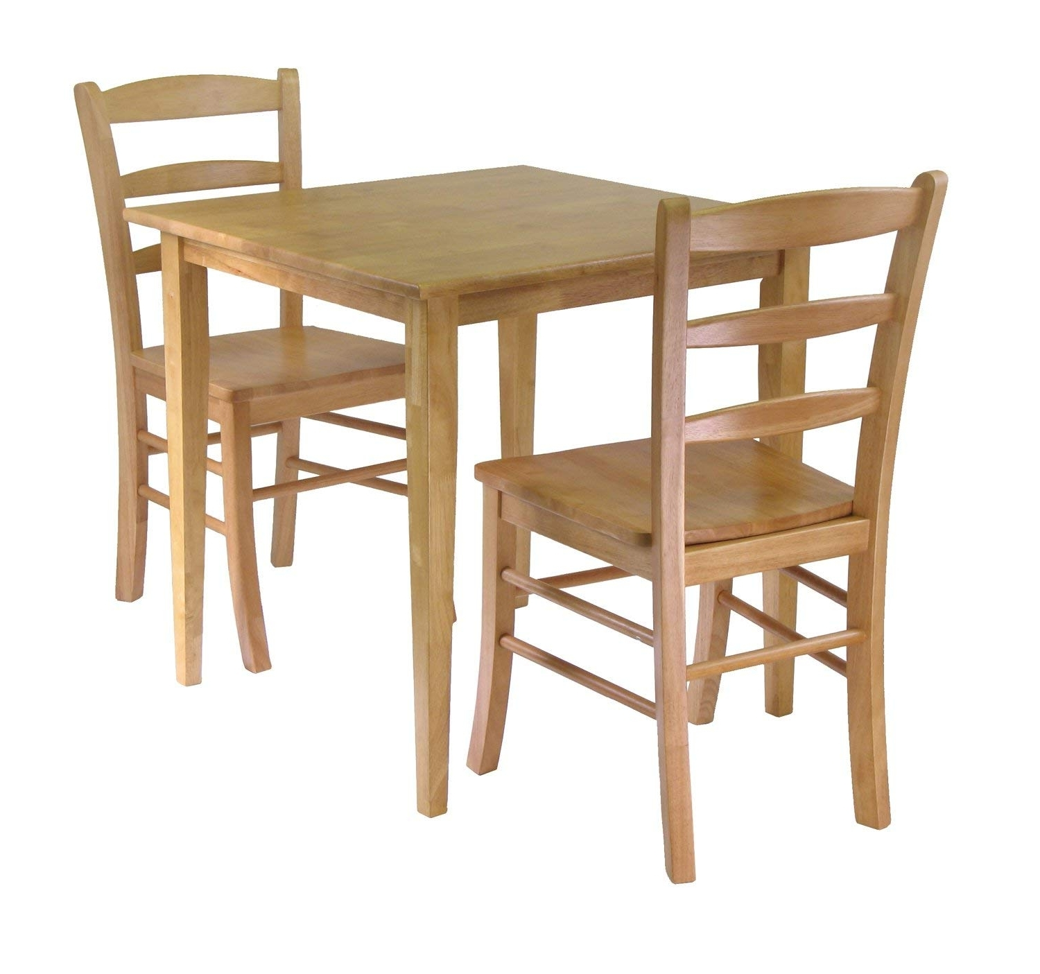 Trendy Square Oak Dining Tables With Amazon – Winsome Groveland 3 Piece Wood Dining Set, Light Oak (View 23 of 25)