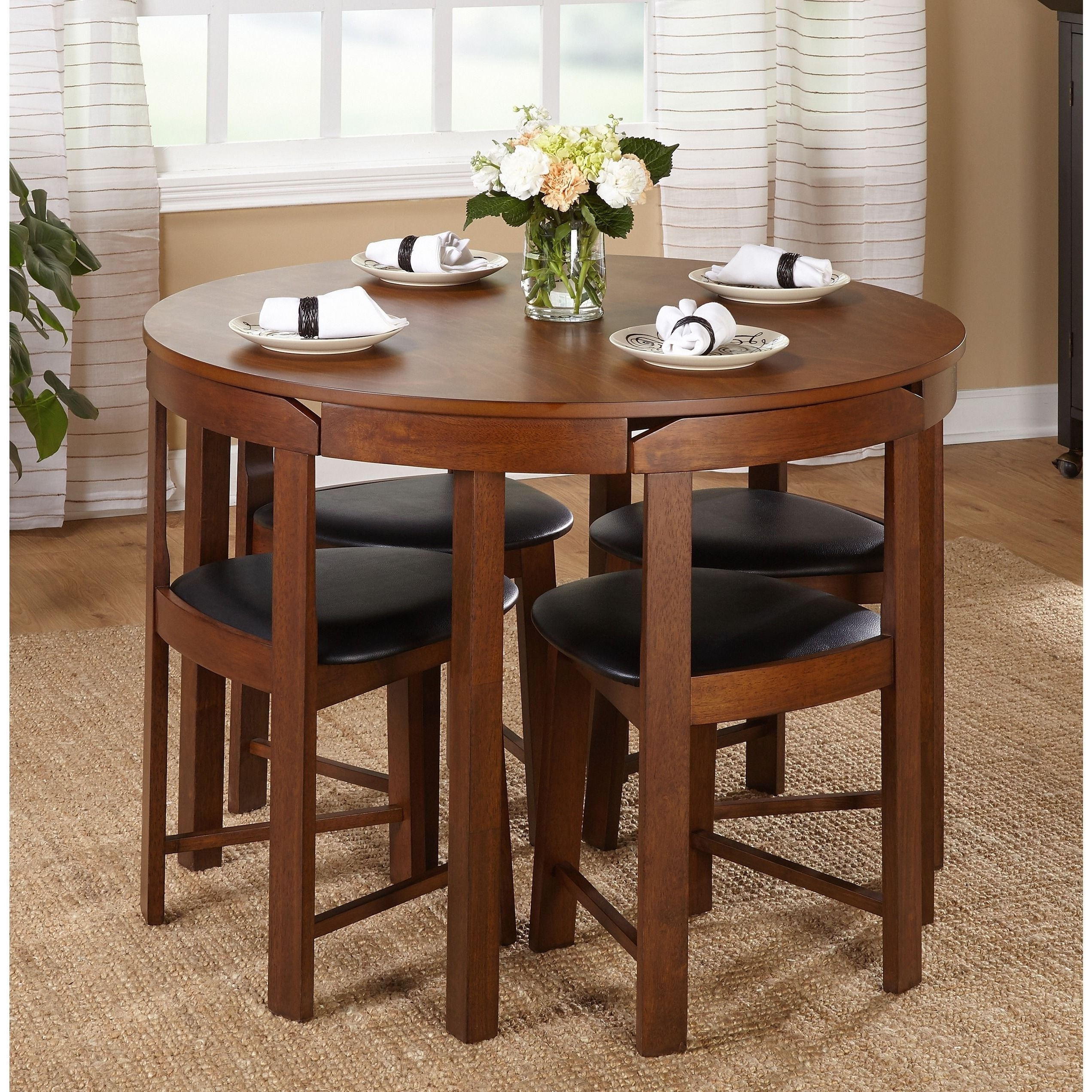 Trendy Valencia 5 Piece Round Dining Sets With Uph Seat Side Chairs Regarding The 5 Piece Tobey Compact Dining Setsimple Living Offers Four (View 17 of 25)