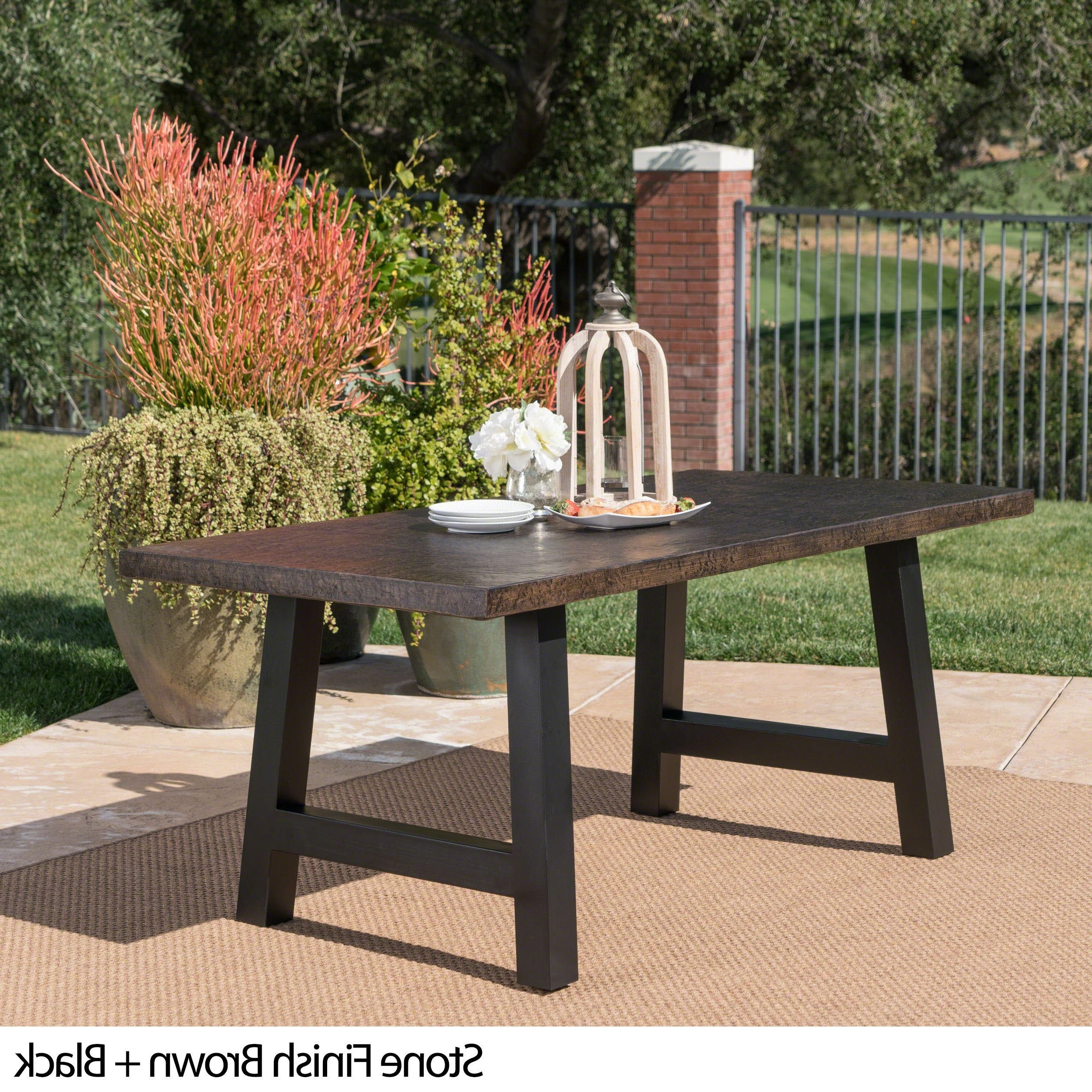 Trendy Valencia Outdoor Rectangle Light Weight Concrete Dining Table Intended For Valencia 72 Inch 7 Piece Dining Sets (View 21 of 25)