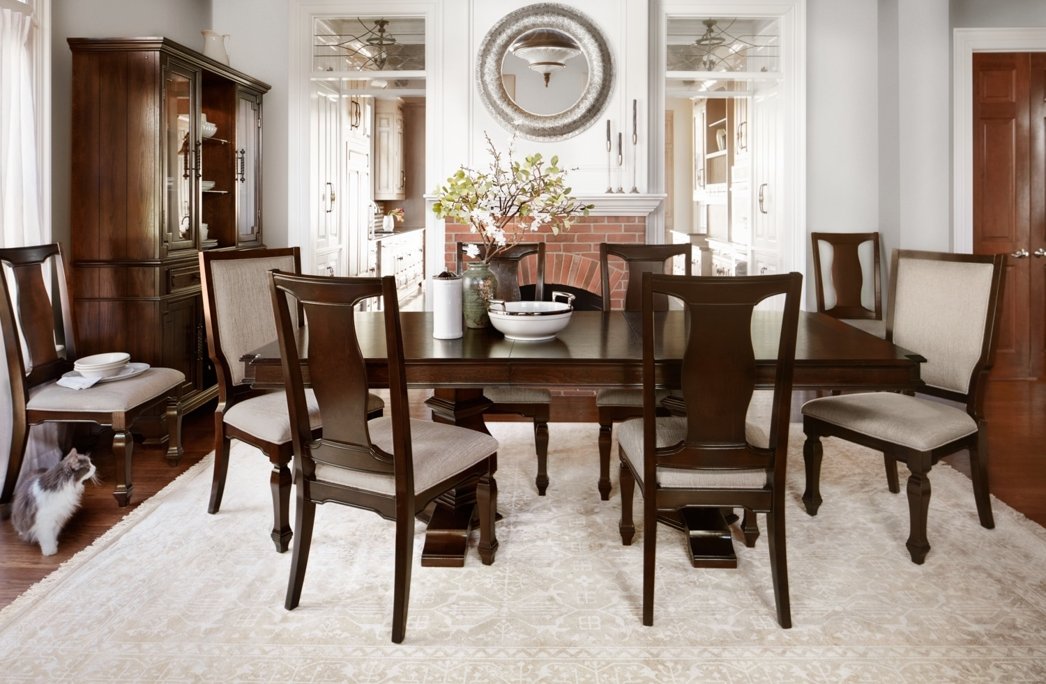 Trendy Vienna Dining Tables Regarding Vienna Dining Table, 6 Side Chairs And 2 Upholstered Side Chairs (View 15 of 25)