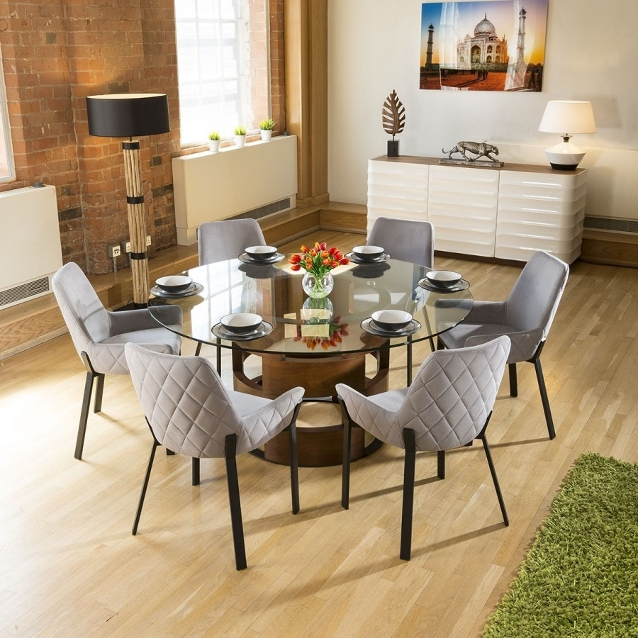Trendy Walnut Dining Table And 6 Chairs Within Huge Round Glass Top Walnut Dining Table Set + 6 Light Grey Chairs (View 17 of 25)
