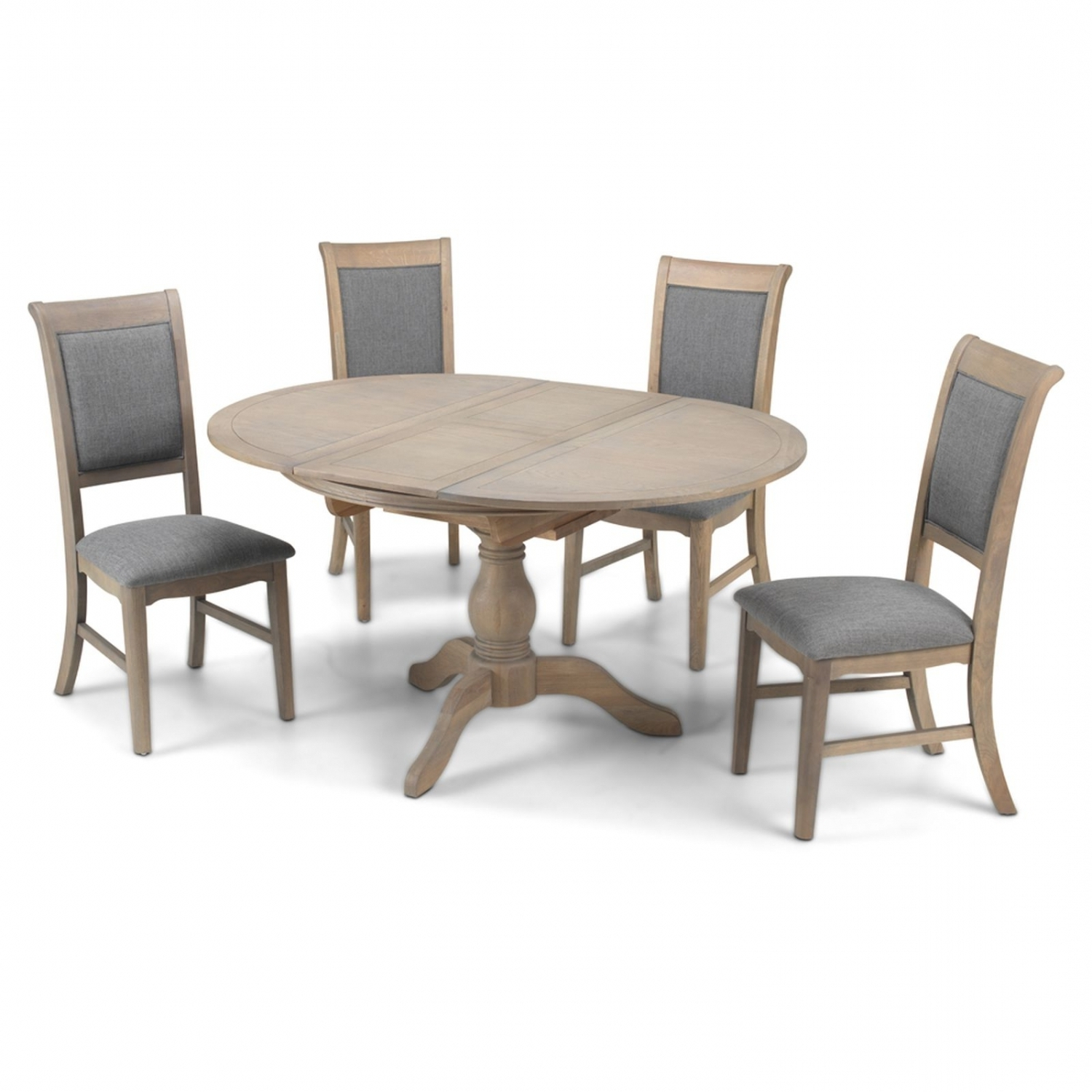 Trendy Welford Oak Furniture Grey Round Extending Dining Table With Four Throughout Dining Tables Grey Chairs (View 23 of 25)