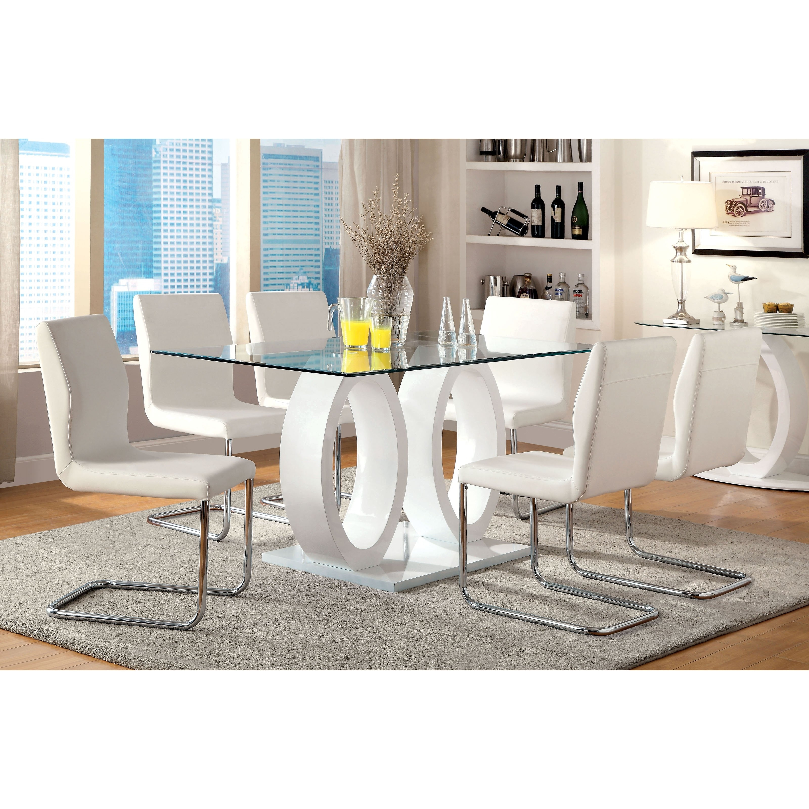 Trendy White Dining Tables Sets Regarding Furniture Of America Damore Contemporary 7 Piece High Gloss Dining (View 19 of 25)