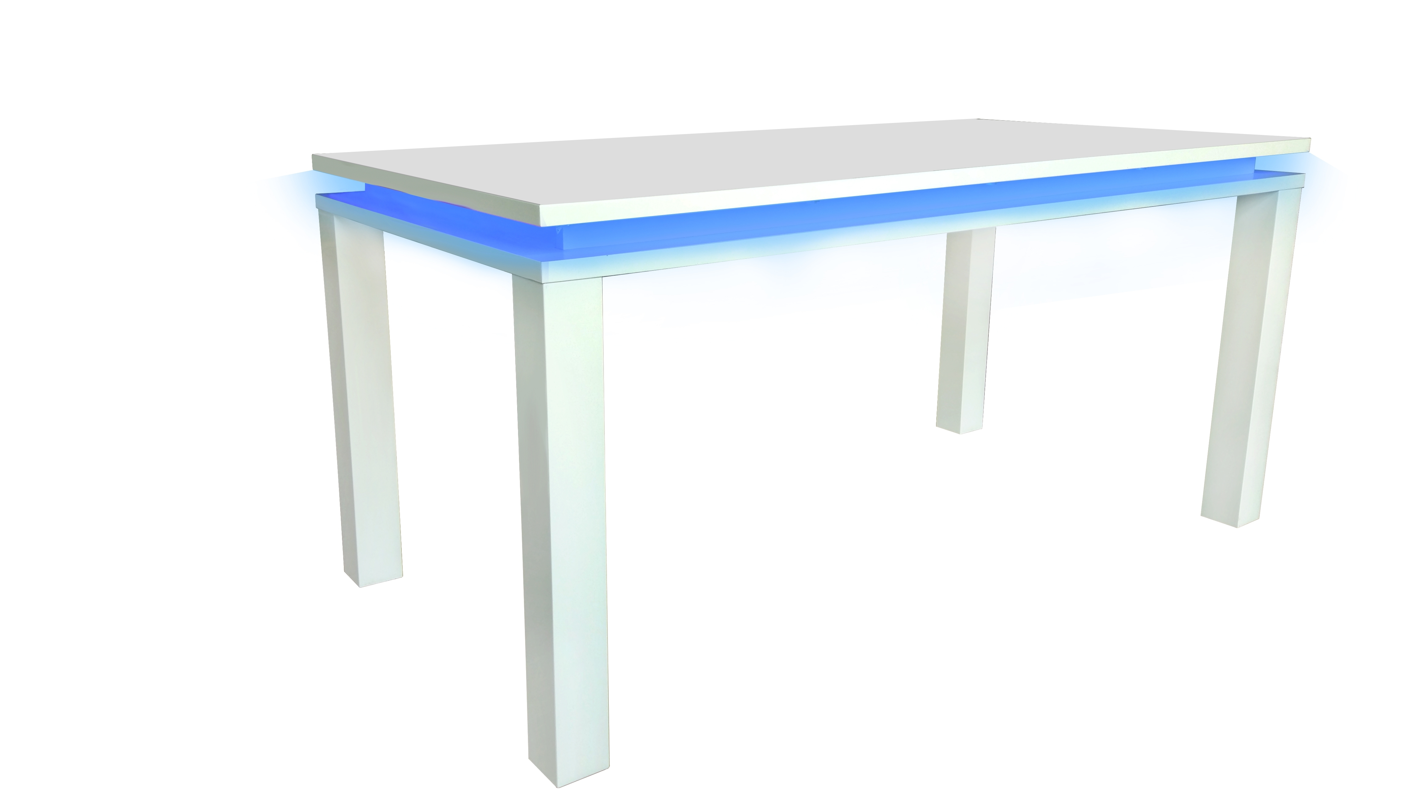 Trendy White Gloss Dining Room Furniture Intended For Details About Milano High Gloss Modern Dining Room Table – White Gloss With  Blue Led Lighting (View 14 of 25)