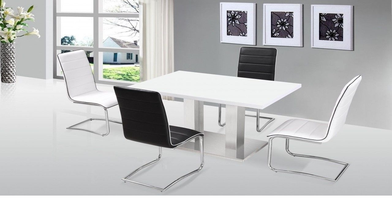 Trendy White Gloss Dining Tables 120Cm Intended For Ultra Modern White High Gloss Dining Table & 4 Chairs  Homegenies (View 12 of 25)