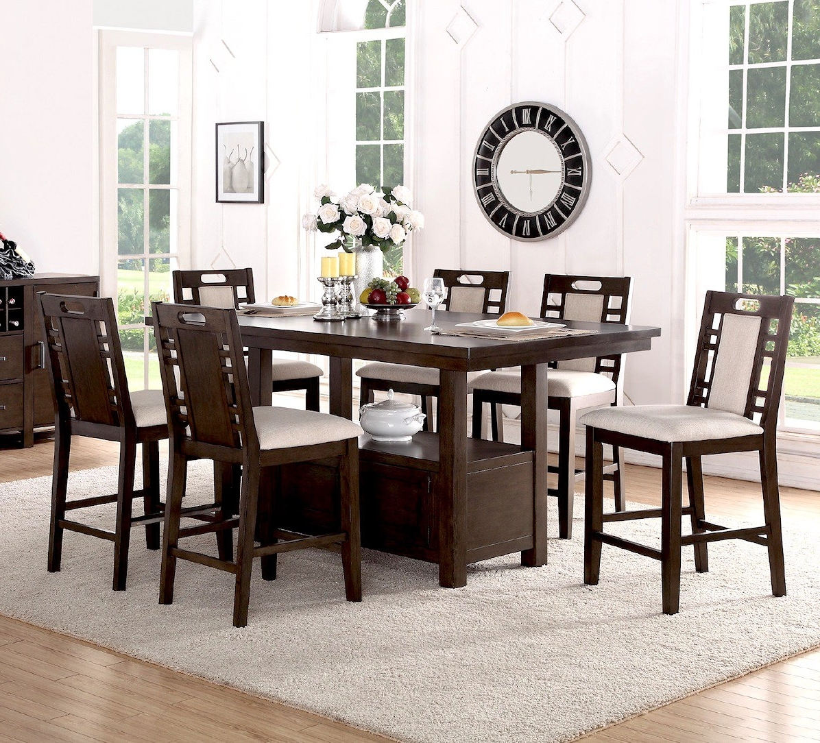 Trendy Winston Porter Nika 7 Piece Counter Height Dining Set & Reviews With Candice Ii 7 Piece Extension Rectangular Dining Sets With Uph Side Chairs (View 18 of 25)