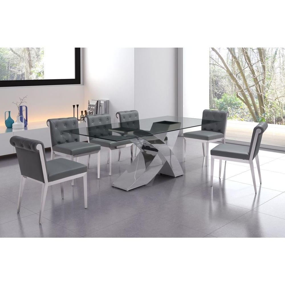 Trendy Zuo Wave Chrome Dining Table 100350 – The Home Depot Intended For Chrome Dining Room Sets (View 24 of 25)