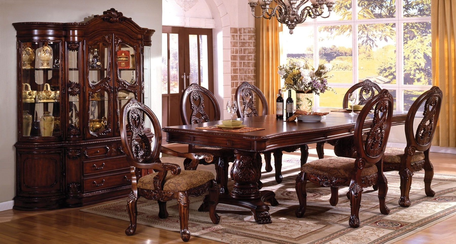 Tuscany Ii Antique Cherry Rectangle Extending Dbl Pedestal Dining In Recent Pedestal Dining Tables And Chairs (View 23 of 25)