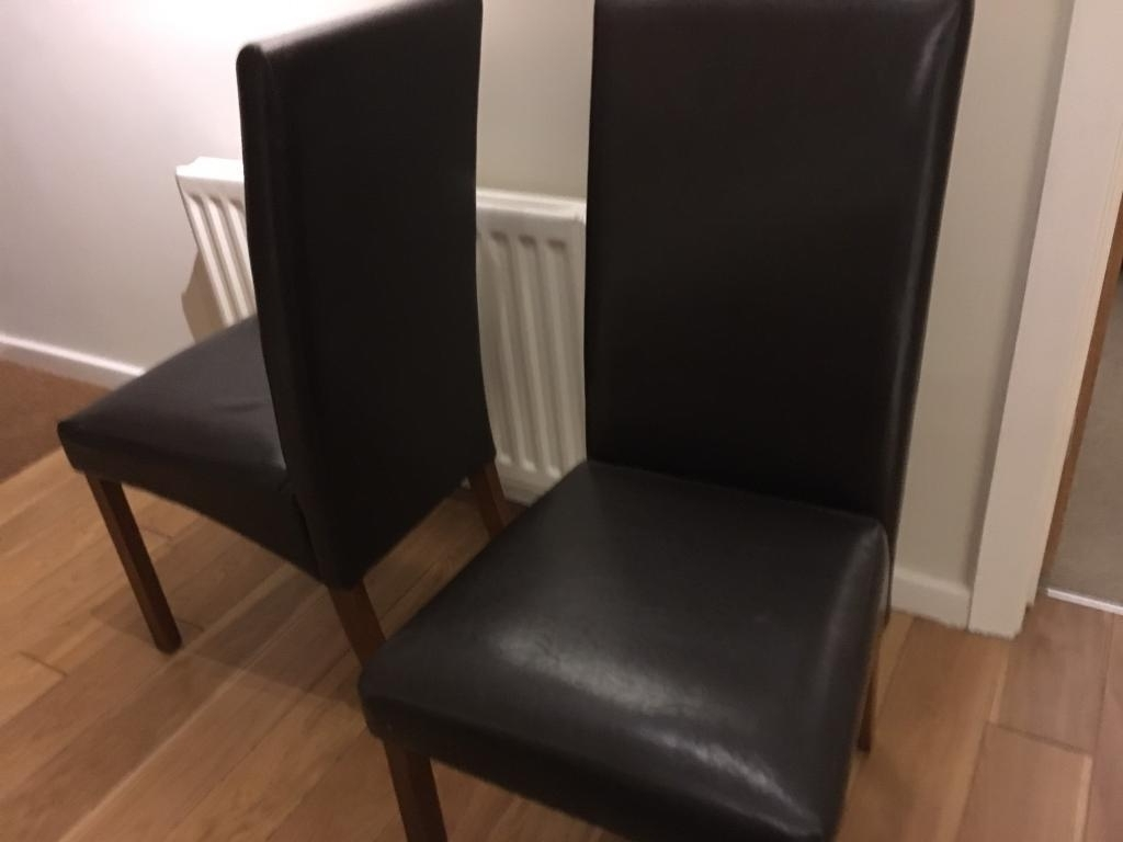 Two Homebase Dark Brown Leather Dining Chairs (View 14 of 25)