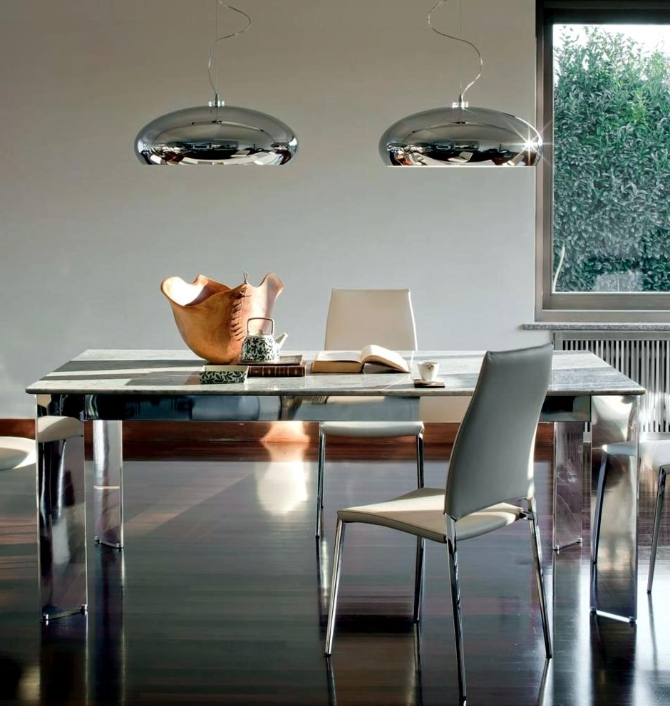 Two Pendant Lights On Chrome Dining Table (View 6 of 25)