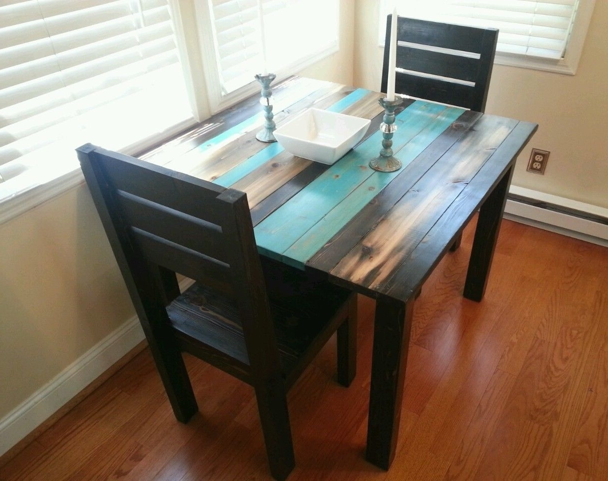 Two Person Dining Table Sets With Regard To Well Known Square Blue And Black Color Scheme Distressed Wooden Dining Table (View 20 of 25)
