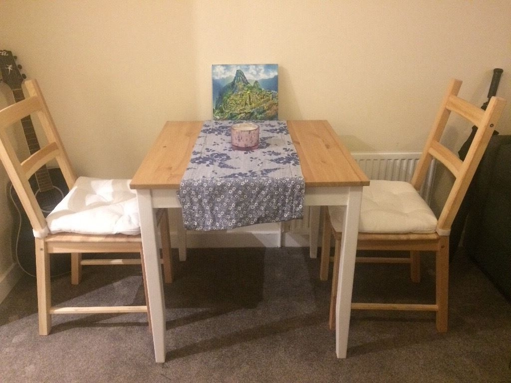 Two Seater Dining Tables For Most Popular 2 Seater Dining Table With Seat Covers And Table Runner (View 24 of 25)