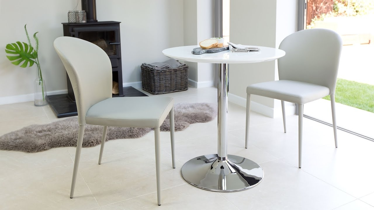 Two Seater Dining Tables Intended For Best And Newest Modern Round 2 Seater White Gloss Dining Set – Youtube (View 21 of 25)
