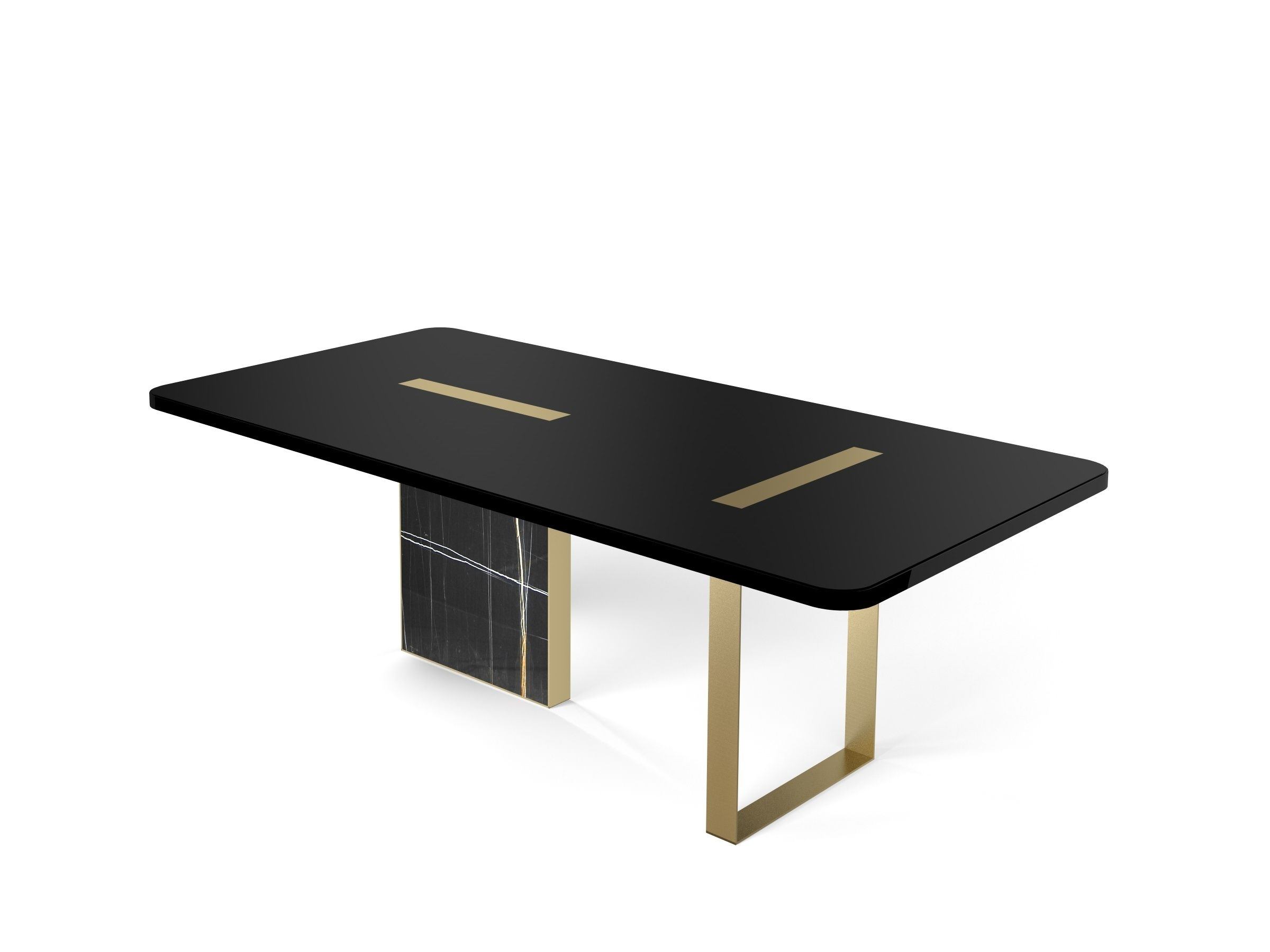 Tyron Dining Table 220X110 In Black Laquered Wood With Brushed Brass Throughout 2018 Laurent Round Dining Tables (View 8 of 25)