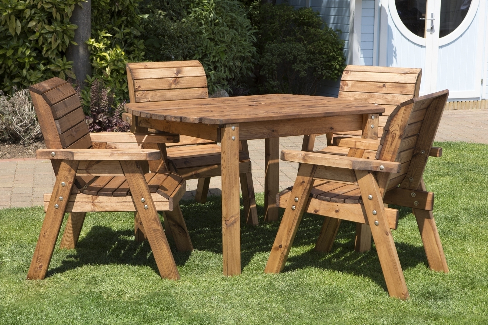 Uk Made Fully Assembled Heavy Duty Wooden Patio Garden Dining Set Throughout 2017 Garden Dining Tables (View 14 of 25)