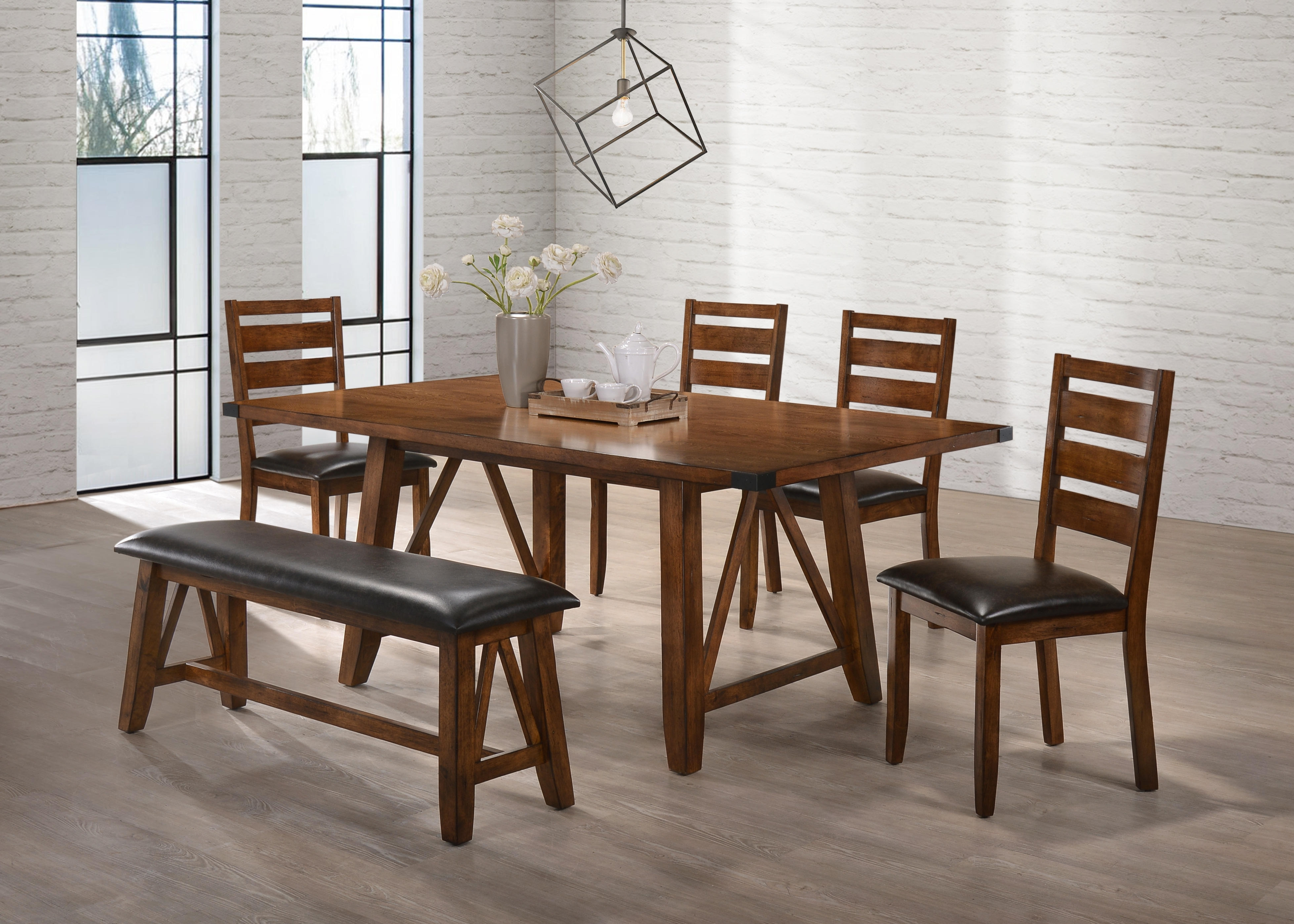 United Furniture Logan Oak 6Pc Dining Room Set (View 22 of 25)