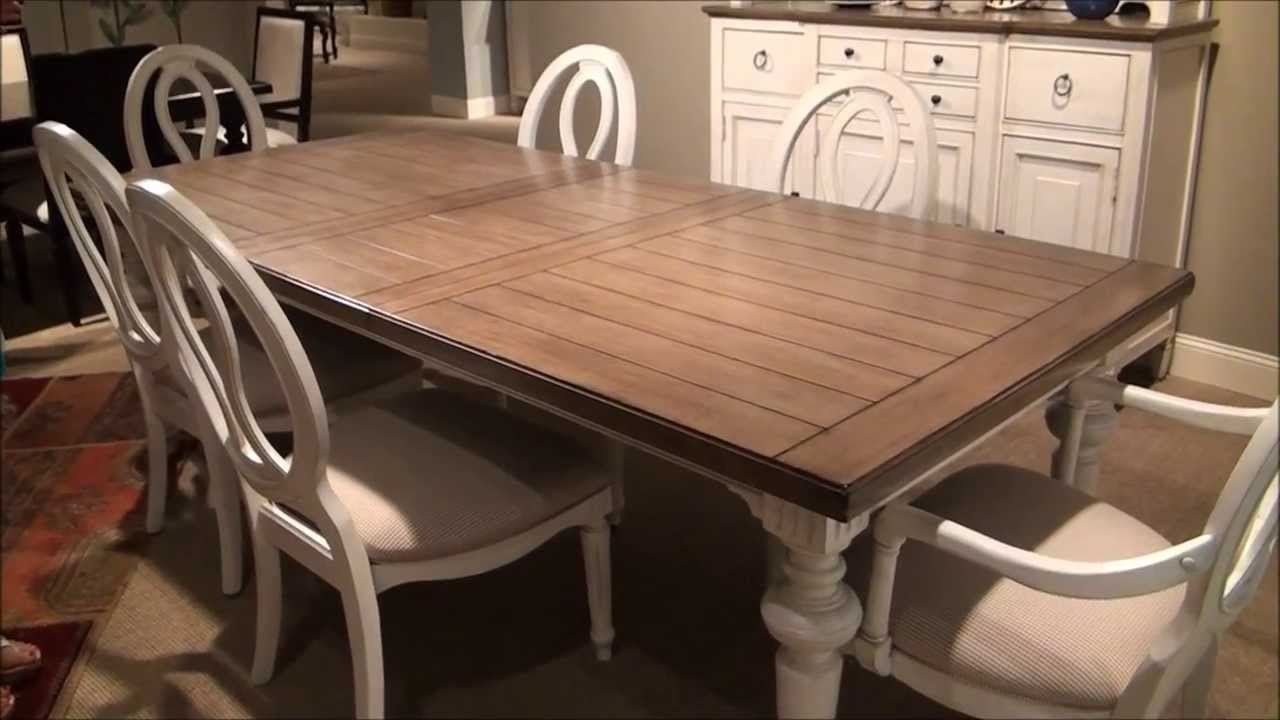 Universal Dining Tables With Regard To Popular Summer Hill Rectangular Leg Dining Room Set In Driftwood/cotton (View 22 of 25)