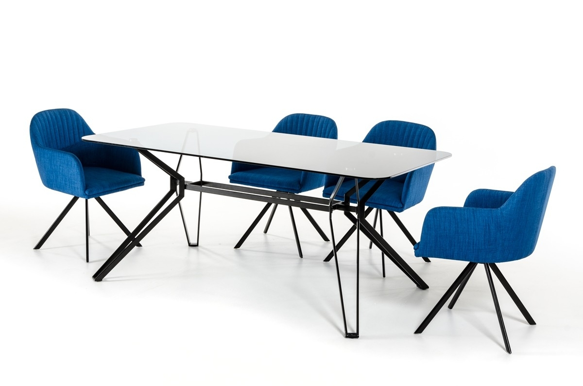 Urban Design Glass And Metal Blue Dining Set Columbus Ohio Vig in Latest Blue Glass Dining Tables