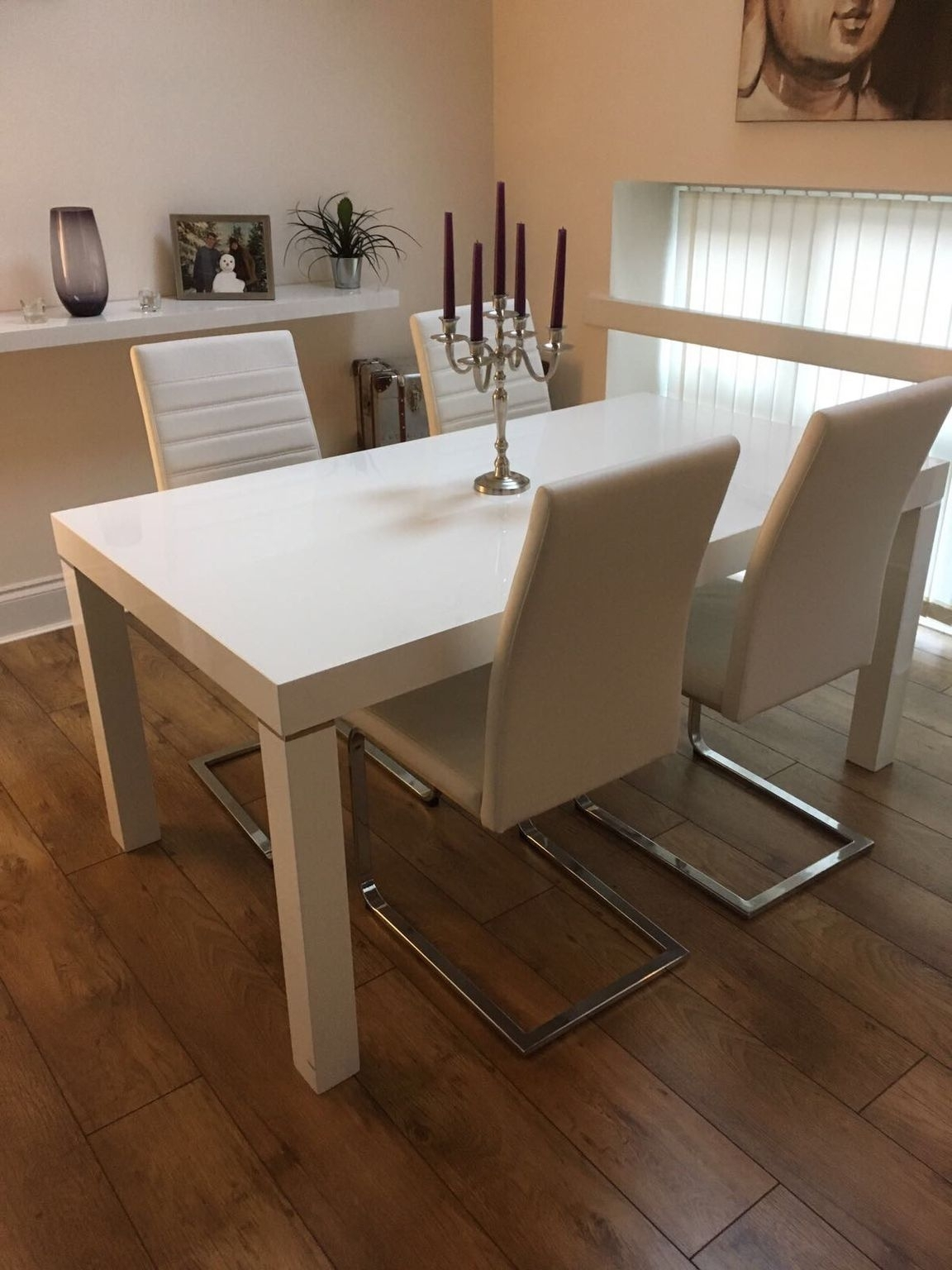 Used Harvey's High Gloss Dining Table White In Ws3 Walsall For With Regard To Popular Harvey Dining Tables (View 16 of 25)