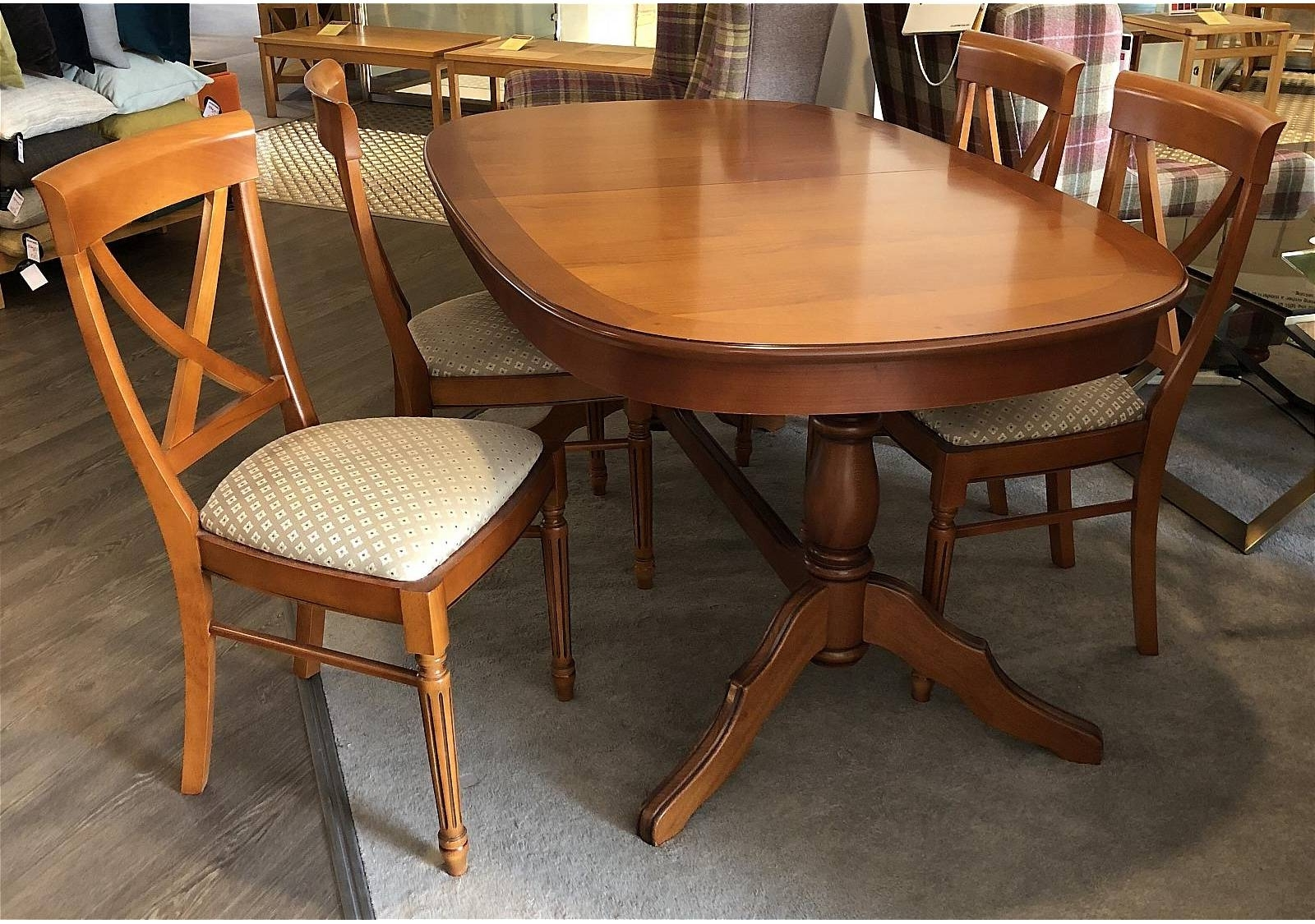 Vale Furnishers Cork Medium Oval Extending Dining Table And 4 Cross In Well Known Cork Dining Tables (Gallery 17 of 25)