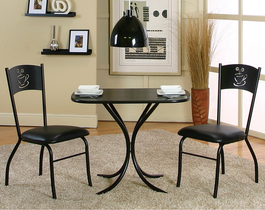 Valencia 3 Piece Counter Sets With Bench intended for 2018 Black Counter Height Table Set With Coffee Cutout Detail