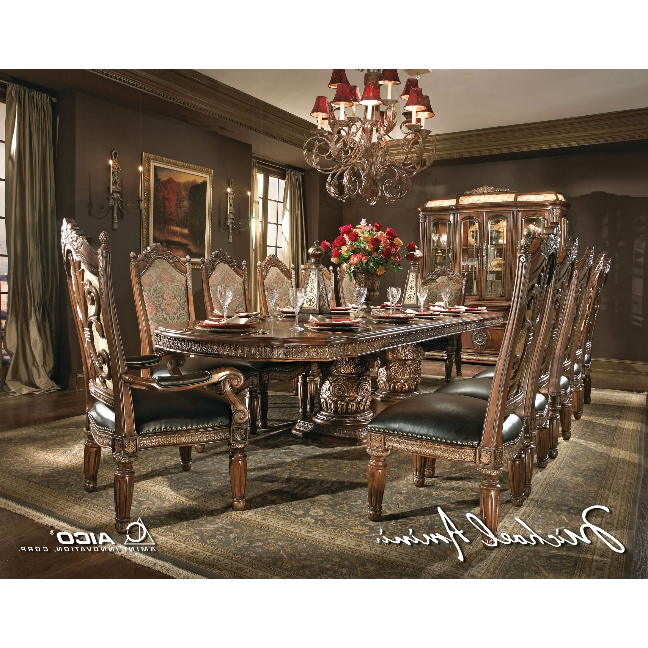 Valencia 3 Piece Counter Sets With Bench throughout 2017 Michael Amini 8Pc Villa Valencia Rectangular Dining Room Table Set W