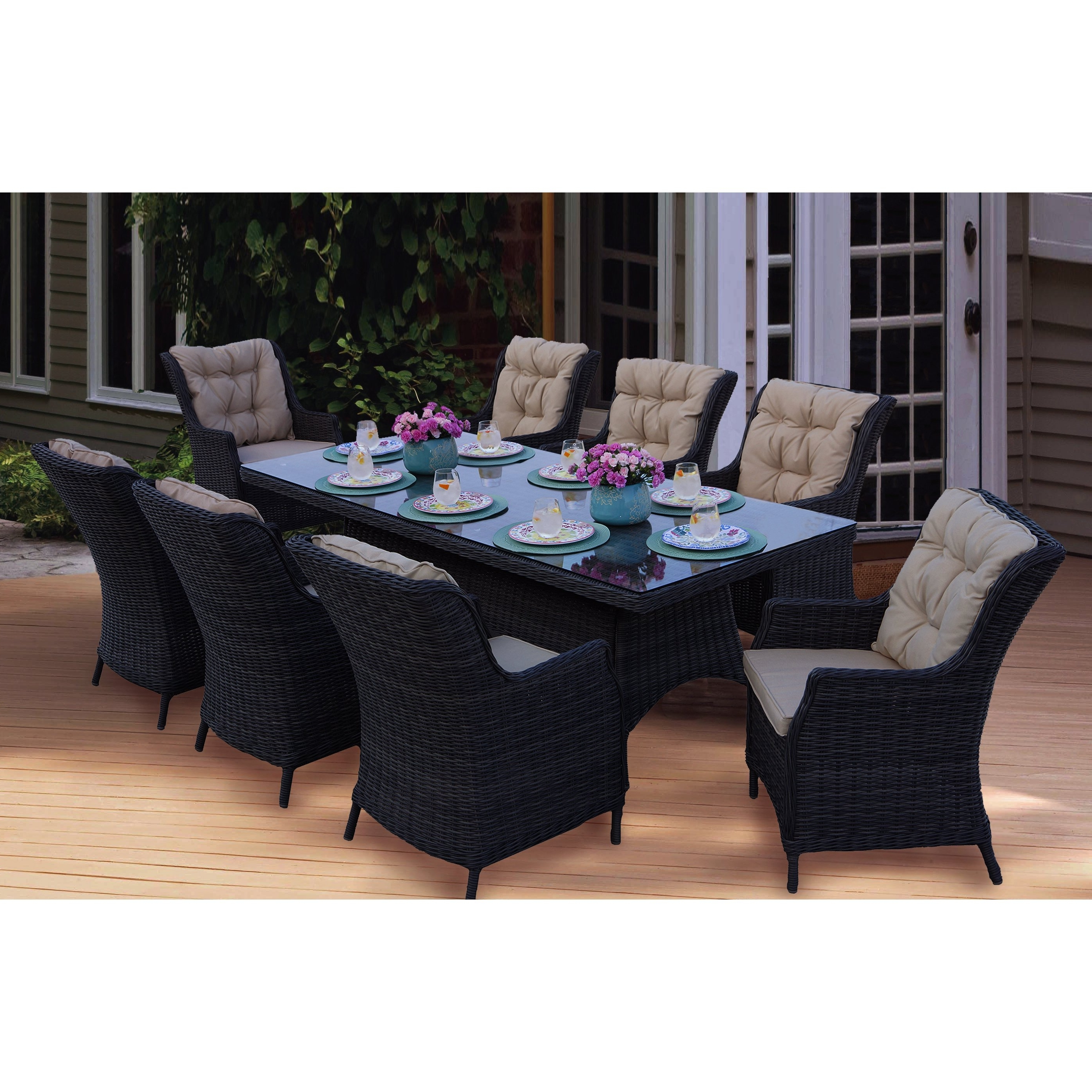 Valencia 5 Piece 60 Inch Round Dining Sets Pertaining To Well Known Shop Darlee Valencia Wicker Rectangular 9 Piece Dining Set (1 Table (View 19 of 25)