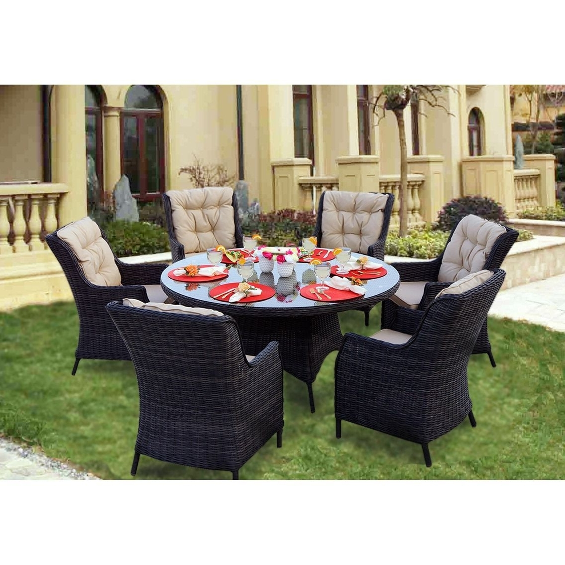 Valencia 60 Inch Round Dining Tables Regarding Popular Darlee Valencia Charcoal (Grey) Wicker 7 Piece Dining Set With (View 21 of 25)