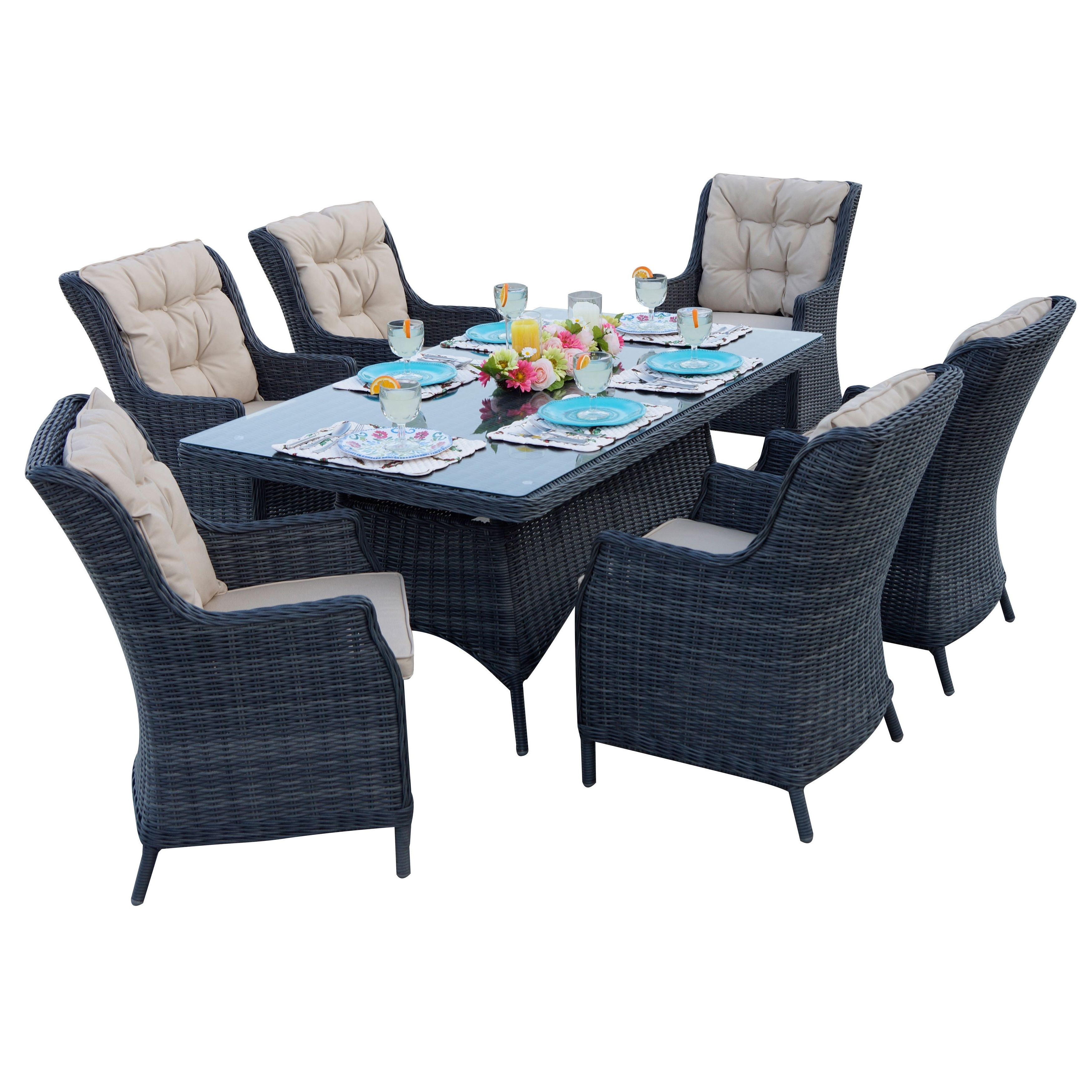 Valencia 72 Inch 6 Piece Dining Sets inside Well-liked Darlee Valencia Black Resin Wicker Dining Set