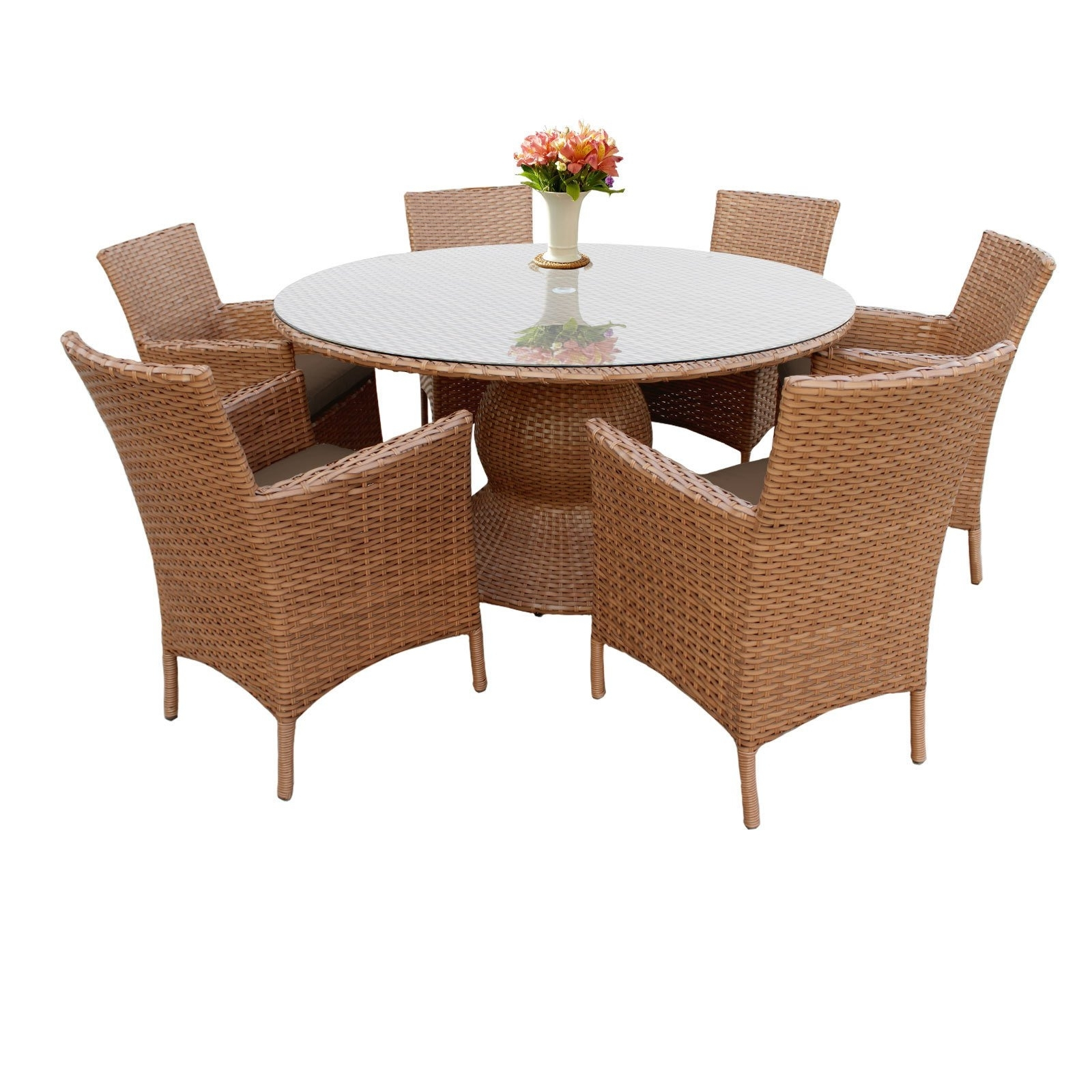 Valencia 72 Inch 6 Piece Dining Sets With Regard To Well Liked Shop Outdoor Home Bayou Wicker 60 Inch Outdoor Patio Dining Table (View 16 of 25)